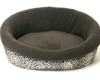 Dog Lounger Bed in Leopard Velboa with Chocolate Polar Fleece Interior & Reversible Cushion, LARGE
