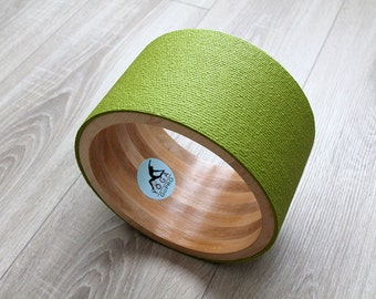 "10"" ECO Yoga Wheel. Wooden yoga wheel. Wheel covered with olive yoga mat. Wooden circle"