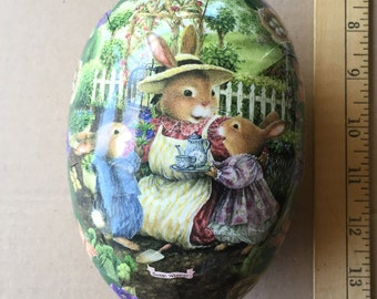 Paper Mache Egg Large Germany Bunnies Easter Rabbits Design Easter Egg Box 6 Inch German Egg