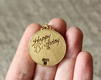 perpetual calendar birthday necklace . vintage happy birthday necklace . custom day birthday necklace with movable date and month
