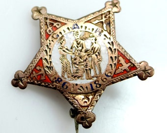 Victorian 10k Gold Enamel Ladies of G.A.R. Preservation of Civil War History Pin