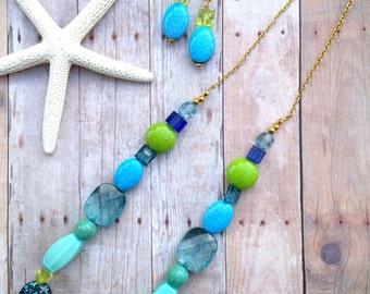Blue green necklace set, earrings
