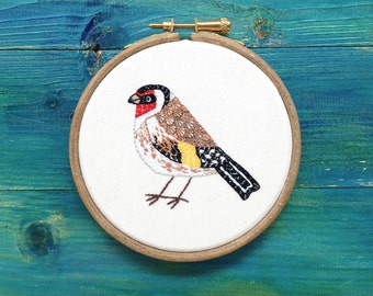 Hand Embroidery Art Framed in an Embroidery Hoop, Goldfinch