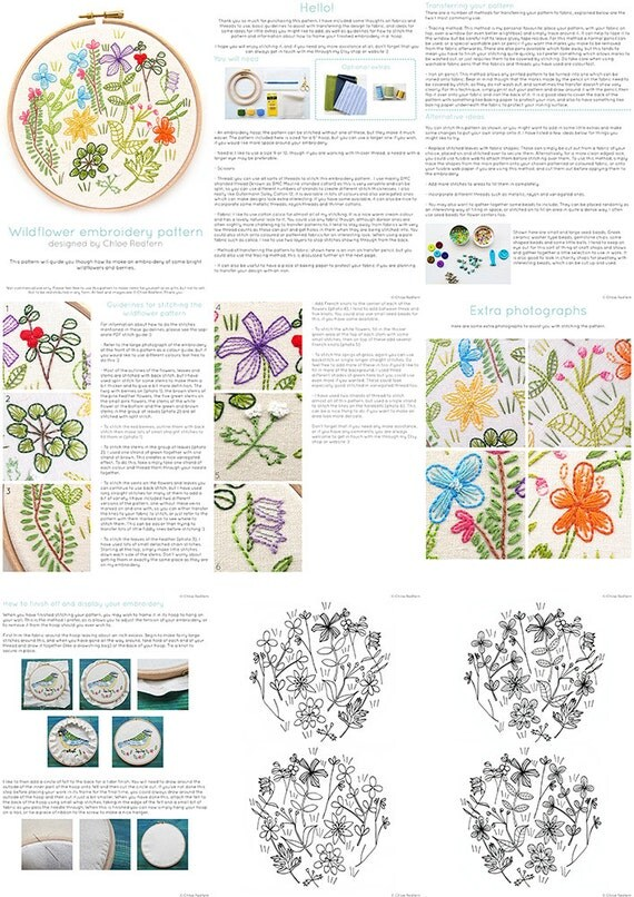 Wildflower Embroidery Pattern PDF Instant Download