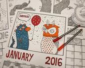 Cdn. version: SALE! 2016 Surprise Party In The Snow colouring calendar