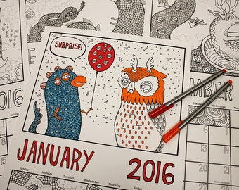 US version: SALE! 2016 Surprise Party In The Snow colouring calendar