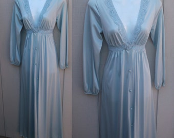 Vintage 70s Blue SHADOWLINE Nylon Tricot Romantic Peignoir Robe / Sz Sml