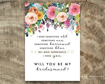 Will you be my BRIDESMAID Card |  Size A7 or 5x7, Flat and Folded Card, Bridesmaid Proposal | Ashley |Printable PDF, Instant Download