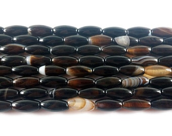 Black Striped Agate Barrel Gemstone Beads