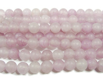 Light Lilac Jade Matte Round Gemstone Beads
