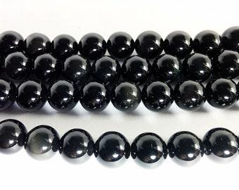 Black Obsidian Round Gemstone Beads