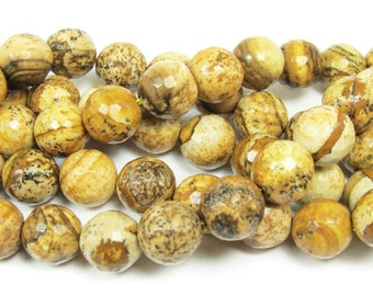 Picture Jasper Faceted Gemstone Beads