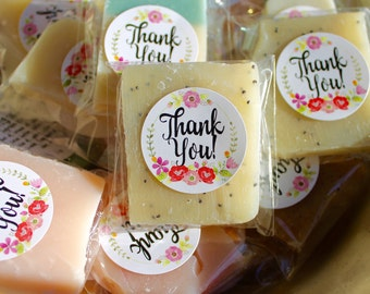 Shower Favors, Baby or Bridal, Mini Soap Assortment, Thank You Design