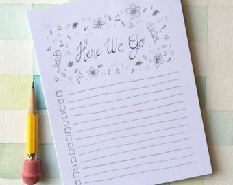 Here We Go Notepad, to-do list, checklist notes, note list, checklist notepad