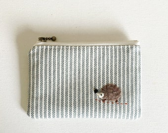 mini zipper pouch  - denim khaki stripe with a hedgehog applique