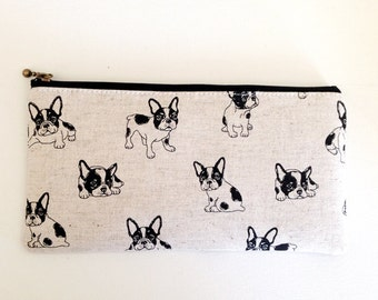 Flat  zipper pouch  -NEW  French bulldog (natural)