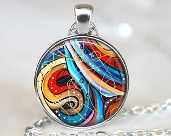 Abstract Art Pendant ,Abstract Art Necklace, Abstract Art Jewelry, Swirl Pendant, Original Art Jewelry, Abstract Art, Bronze, Silver, 368