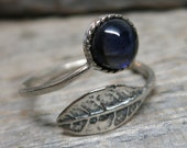 Spirit of the Forgotten Forest ring ... antique silver / leaf / spiral ring / sapphire / adjustable band size