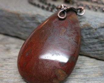 Blessed Mabon necklace ... wire wrapped antique copper / red jasper