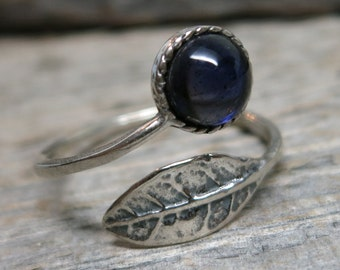 Spirit of the Forgotten Forest ring ... MADE TO ORDER antique silver / leaf / spiral ring / sapphire / adjustable band size