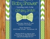 Little Man Bow Tie Baby Shower Invitation Lime Green Chevron Polka dots Boy Shower Invite 5x7 Digital Invite (535)
