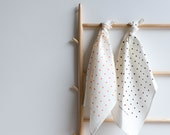 Screen Printed Linen Tea Towel - Dots with Peach or Chocolate Ecofriendly Ink