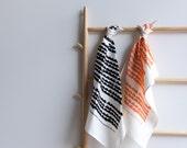 Screen Printed 100% Linen Tea Towel - Mountains in Black or Peach Ecofriendly Ink