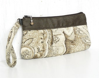 Pleated Wristlet, Small Clutch Purse, Zipper Wristlet Clutch - Wistful Paisley in Cream, Taupe and Tan