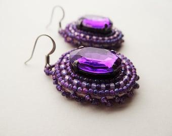Beaded Purple Rhinestone Earrings