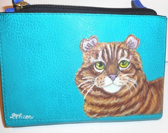 American Curl Cat Hand Painted leather Wallet Purse