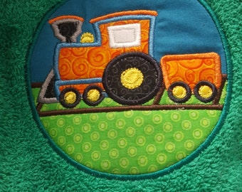 Train embroidered hooded towel, Train Towel, Hooded Towel, Train hooded towel, Children's towel, train embroidery, train applique towel