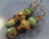 Duck egg and cream ceramic and copper disc dangle earrings