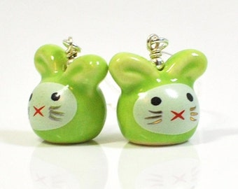 Green Bunny Earrings Limon and Lime Rabbit Buddies - Rabbit Earrings - Kawaii Jewelry - Bunny Jewelry