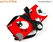 Sale 25% OFF Crochet Hook Roll or Make-up Brush Organizer - Red Sheep with 26 black pockets