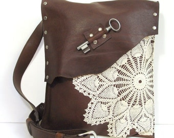 Boho Leather Lace and Key Bag with Antique Key and Vintage Crochet Doily - Large Messenger Adjustable