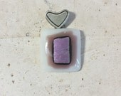 Fused glass pendant necklace; white, purple, purple dichroic