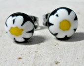 millefiore Earrings - fused glass earrings - millefiore flower post earrings - black, white, and yellow flowers- jewelry -  stud earrings