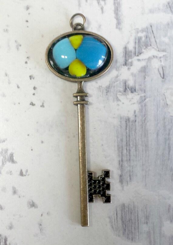 fused glass embellished skeleton key - skeleton key pendant - fused glass skeleton key necklace - skeleton key jewelry