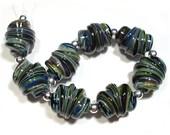 Chalcedony Whirled,  SRA Handmade Glass Lampwork Beads, SRA Lampwork Beads