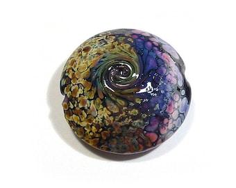 Handmade Glass Lampwork Bead, Raku Purple Rose Twist,  Jumbo Lentil