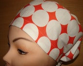 New Euro Style Orange and White Large Dots Medical Surgical Scrub Hat Vet Nurse Chemo