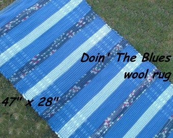 "Handwoven --- Doin"" The Blues --- THICK Wool Fabric Rag Rug -- 47 x 28"