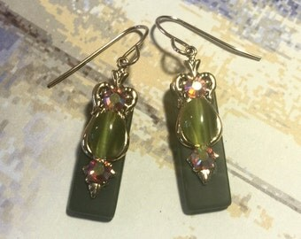 Olive Green Stained Glass Earrings with Glass Cats Eye and Topaz AB Crystal Accents