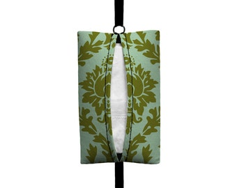 Auto Sneeze - Damask - Visor Tissue Case/Cozy - Car Accessory Automobile - Olive Green Mint Green Floral