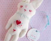 OOAK Tattooed Embroidered pet White Rabbit