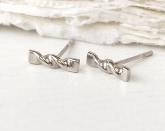 Twist Stud Earrings, 18k Gold or Platinum