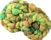 Little Green Men  - hand-dyed Polwarth wool and silk (4 oz.) combed top roving