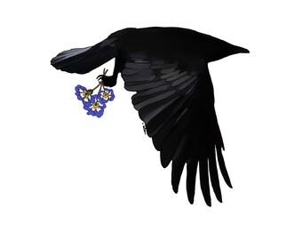 Crow and Flowers Art Print