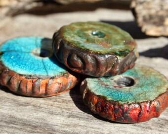 Handmade RAKU Spacer Beads Set of 3