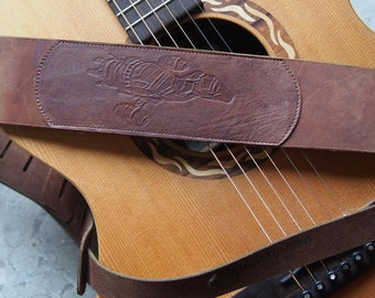 Simple Serenity Embossed Leather Guitar Strap